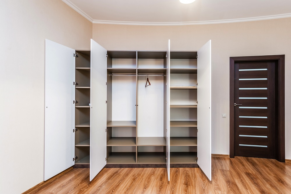 Modern hinged wardrobe with opened doors